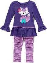 Kids Headquarters Purple Fox Tunic & Pink Leggings - Girls