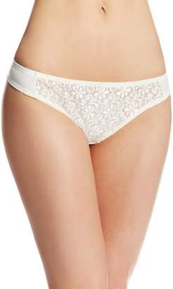 Carnival Womens Petite-Plus-Size Tuxedo Lace Microfiber Low-Rise Thong Panty