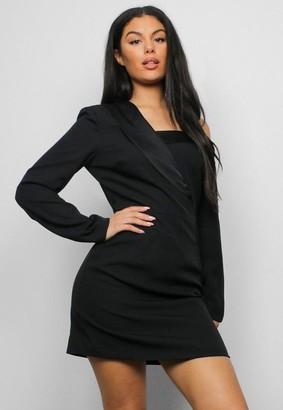Missguided Black Off Shoulder Blazer Dress