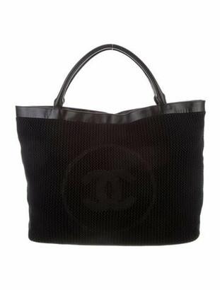 Chanel CC Crochet Beach Tote Black