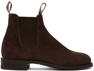 R.M. Williams Burgundy Suede Comfort Turnout Chelsea Boots
