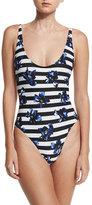 Proenza Schouler Falling Flowers Striped One-Piece Swimsuit