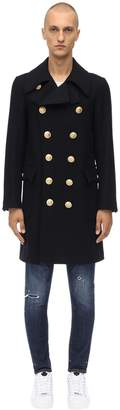 DSQUARED2 DOUBLE BREASTED WOOL BLEND PEACOAT