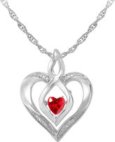 JCPenney FINE JEWELRY Love in Motion Lab-Created Ruby & Diamond-Accent Sterling Silver Heart Pendant Necklace
