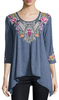 Johnny Was Josephine Embroidered-Yoke Tee, Navy