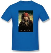 Boais Men's Designed Pirates Of The Caribbean Sparrow Short Sleeve Cotton T-shirt RoyalBlue S