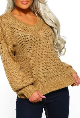 Pink Boutique Fireside Sass Camel V Neck Jumper