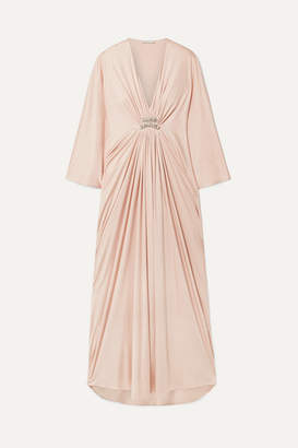 Reem Acra Draped Embellished Silk-jersey Maxi Dress - Blush