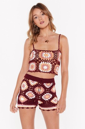 Nasty Gal Womens Forget Knit Crochet Crop Top - Red - S