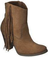 Mossimo Women's Karmi Fringe Western Ankle Boot - Cognac