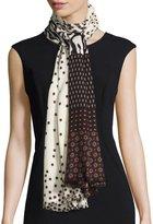 Neiman Marcus Mixed-Print Wool Scarf, White Multi