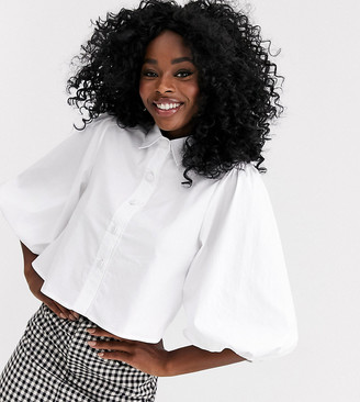 New Look puff sleeve shirt in white