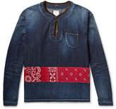 visvim - Velvet-Trimmed Panelled Denim Shirt