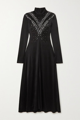 Paco Rabanne Cutout Embellished Stretch-satin Midi Dress - Black