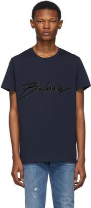 Balmain Navy Neon Signature T-Shirt