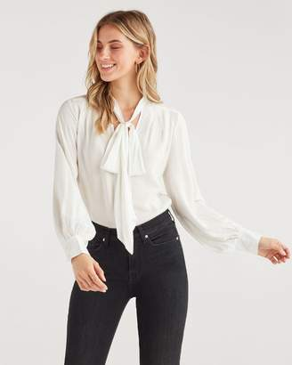 7 For All Mankind V Neck Tie Blouse in Optic White
