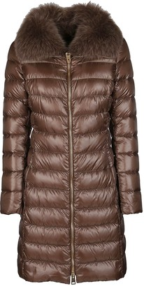 Herno Brown Feather Down Iconic Elisa Padded Coat