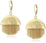 Vince Camuto Half and Half Chain Fringe Gold Ox Earrings