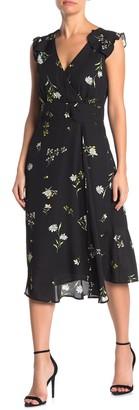 Socialite Printed Faux Wrap Midi Dress