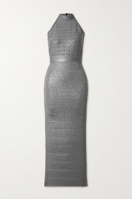 Herve Leger Crystal-embellished Metallic Bandage Halterneck Gown - Gunmetal