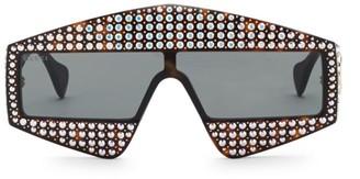 Gucci Fashion Show Dark Havana & Crystal Mask Sunglasses/99MM