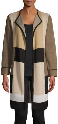 Kasper Suits Plaid Long Cotton-Blend Cardigan