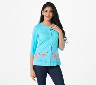 Quacker Factory Madras Plaid Appliqued Snap Front Cardigan