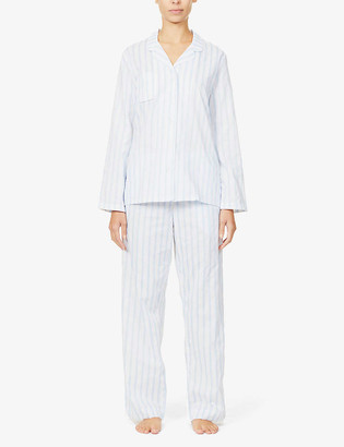 Derek Rose Capri striped cotton-poplin pyjama set