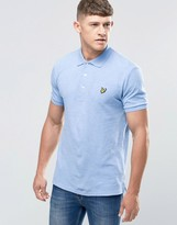 Lyle & Scott Polo Shirt With Woven Collar In Blue