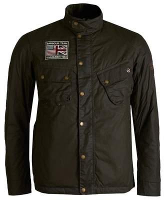 Barbour Steve Mcqueen 9665 Chest Logo Wax Jacket Colour: OLIVE, Size: