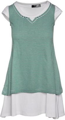 Conquista Striped Layered Mini Dress In Green