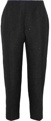 Lela Rose Cropped Sequin-embellished Tweed Straight-leg Pants