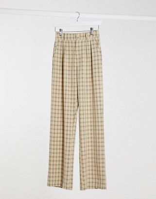 4th + Reckless wide leg suit pants in check