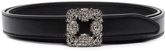 Manolo Blahnik Hangisi crystal buckle belt