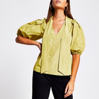 River Island Yellow tie neck ruffled blouse