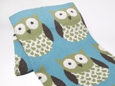 The Well Appointed House Eco Designer Baby Blanket in Blue Owl Pattern