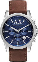 Armani Exchange Brown Leather Strap Watch