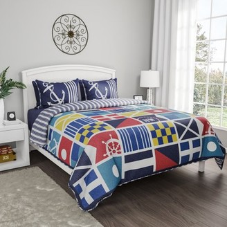 Lhc Quilt Bedspread Set with Exclusive Mariner Design- 2 Piece Twin XL Set With Pillow Sham, Nautical Coastal Theme, Reversible, Hypoallergenic By LHC