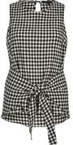 River Island Womens Black gingham print tie knot tank top