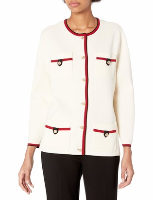 Anne Klein Women's Four Pocket Cardigan with Tipping