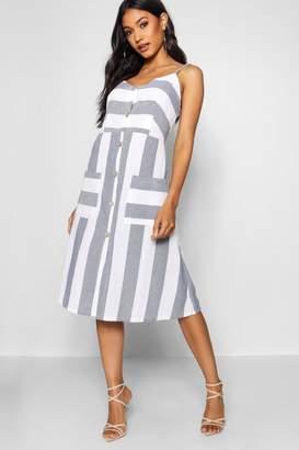 boohoo Wide Stripe Cami Midi Dress