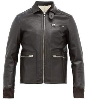 Aldo Maria Camillo - Slim Fit Leather Jacket - Mens - Dark Brown