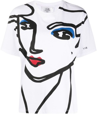 Victoria Victoria Beckham face print crew neck T-shirt