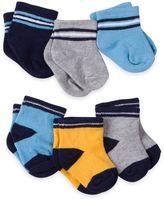 Gerber 6-Pack Stripe Terry Bootie Socks in Blue/Gold/Grey