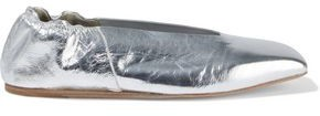 Rick Owens Metallic Crinkled-leather Ballet Flats