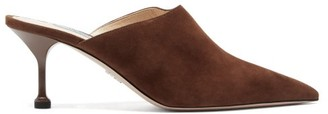 Prada High-cut Suede Mules - Womens - Dark Brown