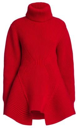 Alexander McQueen Ribbed Peplum Turtleneck Sweater