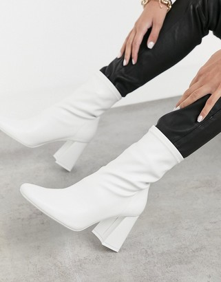 Bershka heeled boot in white