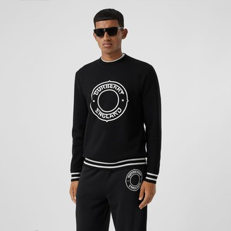 Burberry Logo Graphic Print Technical Wool Sweater