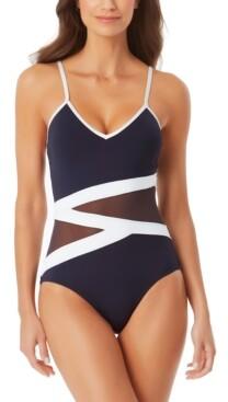 Anne Cole Mesh-Detail One-Piece Swimsuit Women's Swimsuit